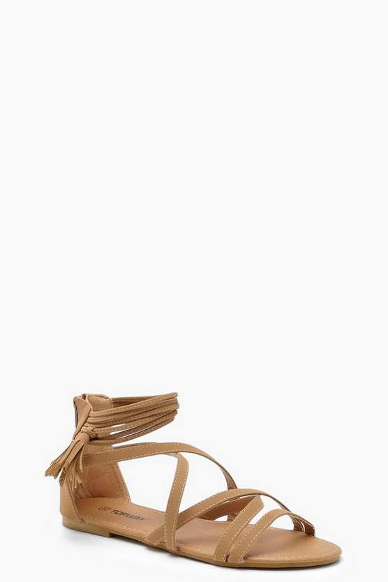 Tassel Trim Gladiator Sandals