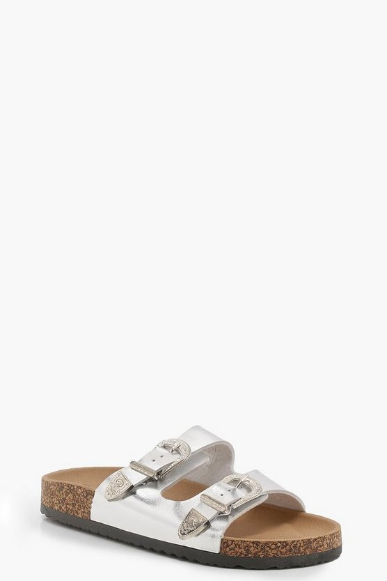 Brooke Double Western Buckle Footbed Sliders