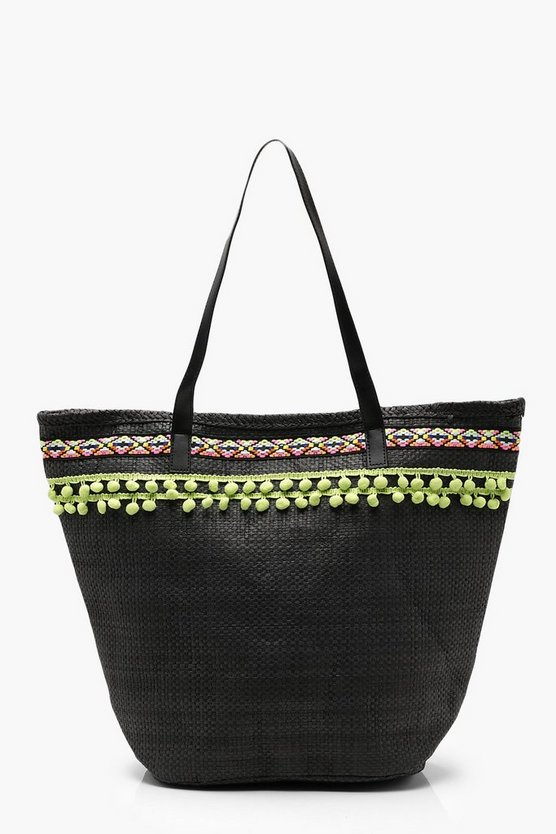 Ella Pom Pom Trim Straw Beach Bag