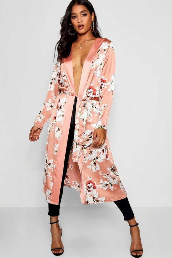 Belted Satin Floral Kimono