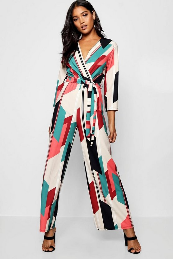 Geo Stripe Wide Leg Jumpsuit