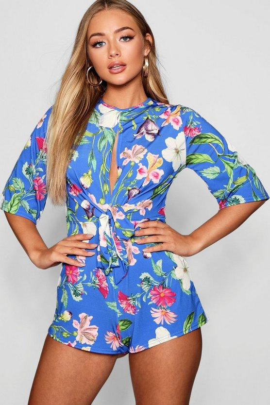 Amber Floral Knot Front Playsuit