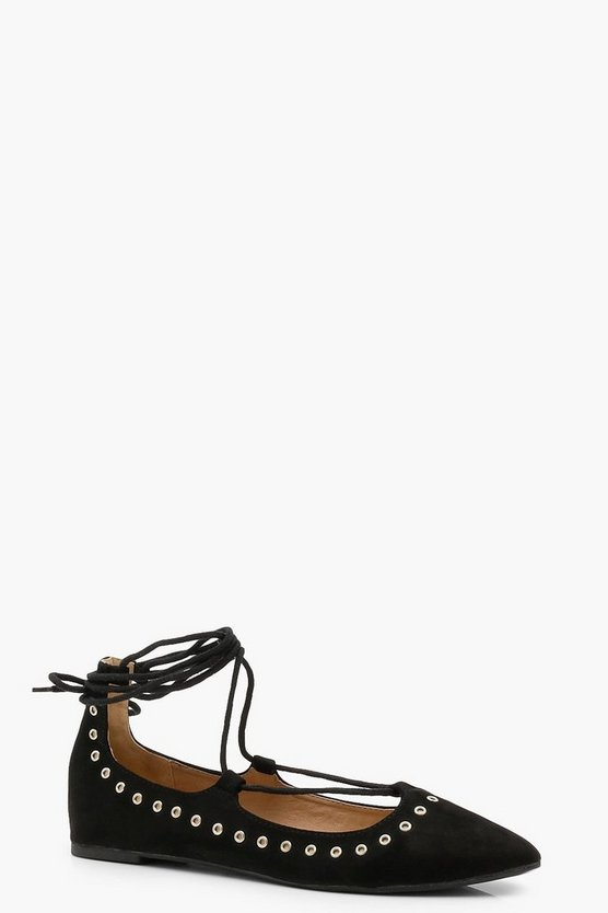 Olivia Eyelet Lace Up Pointed Ballets