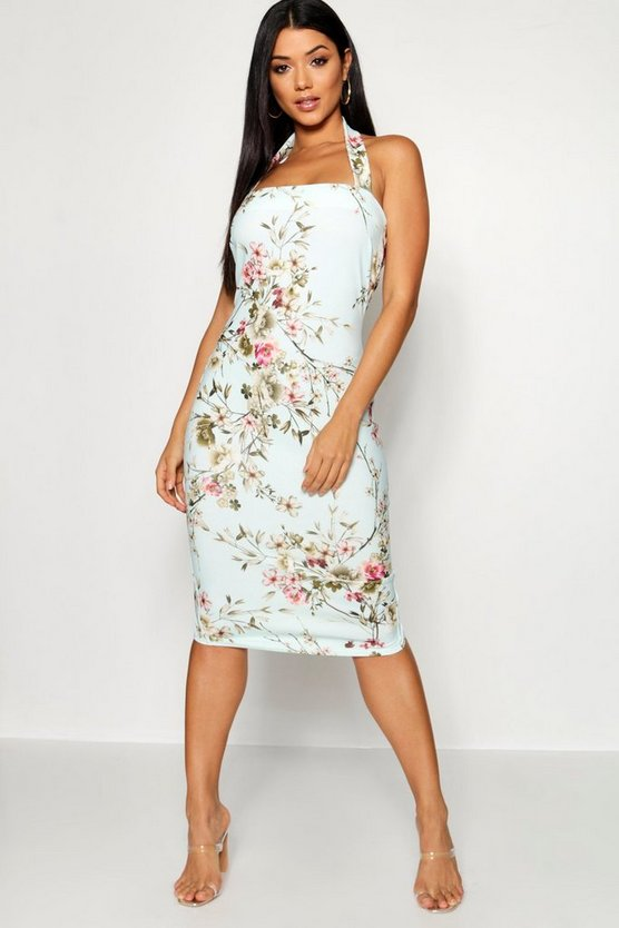Floral Print Sqaure Neck Midi Dress