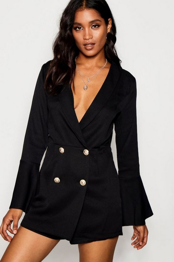 Melissa Tailored Flare Sleeve Playsuit