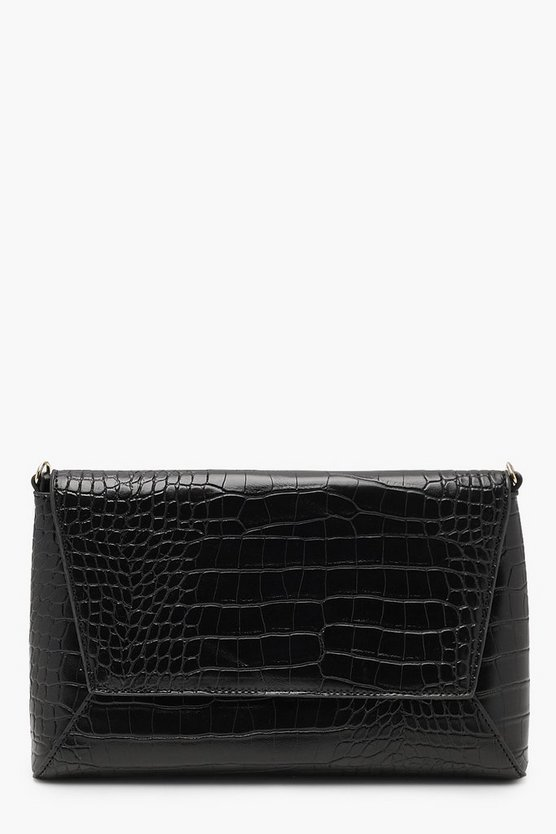 Ava Croc Envelope CLutch With Chain