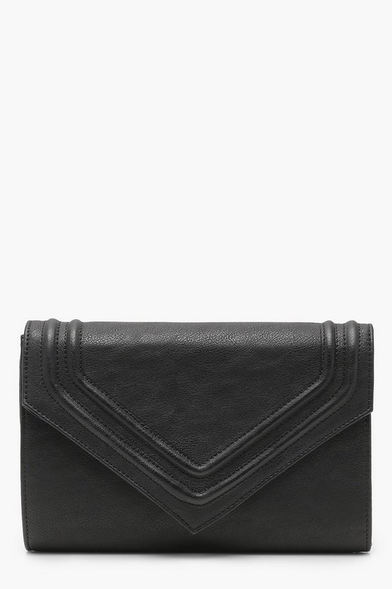Ellie Embossed Envelope Clutch With Chain