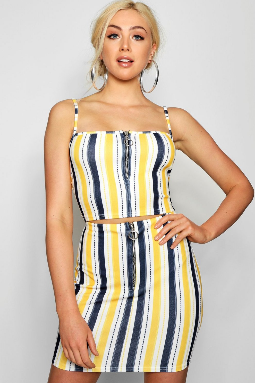 Boohoo Multi Stripe Zip Crop Mini Skirt Co-ord Free Shipping Footlocker Pictures Buy Cheap Low Shipping Lowest Price Sale Online Low Price Fee Shipping Outlet 36uJs7yP