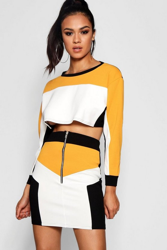 Colour Block Sports Zip Skirt Co-ord