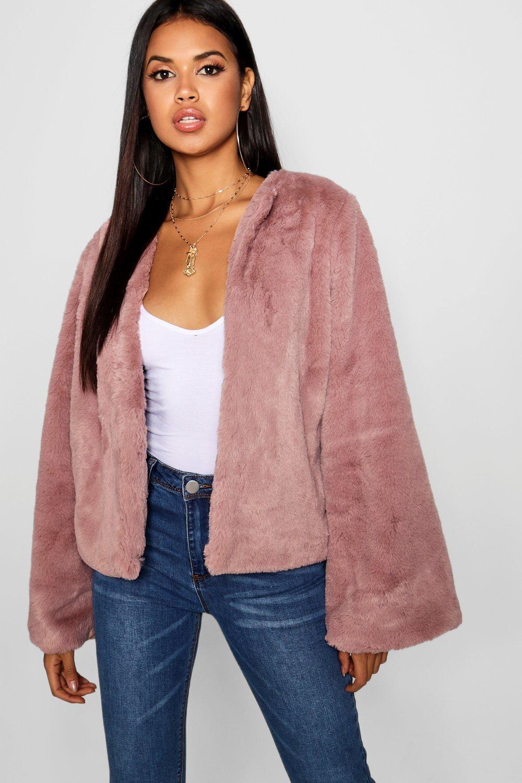 Купить Coats & Jackets, Wide Sleeve Faux Fur Coat, boohoo