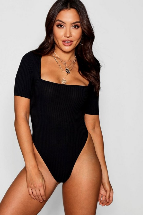 Wide Rib Square Neck Short Sleeve Bodysuit