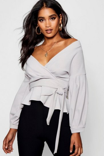 Grey Bell Sleeve Wrap Over Top