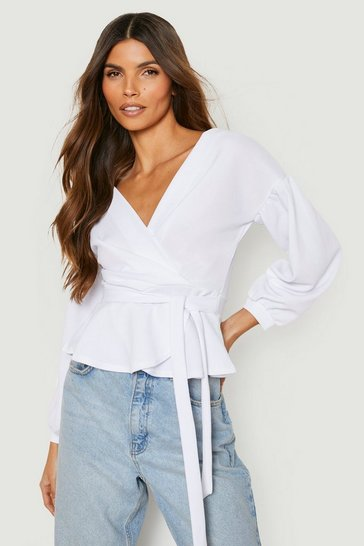 White Bell Sleeve Wrap Over Top