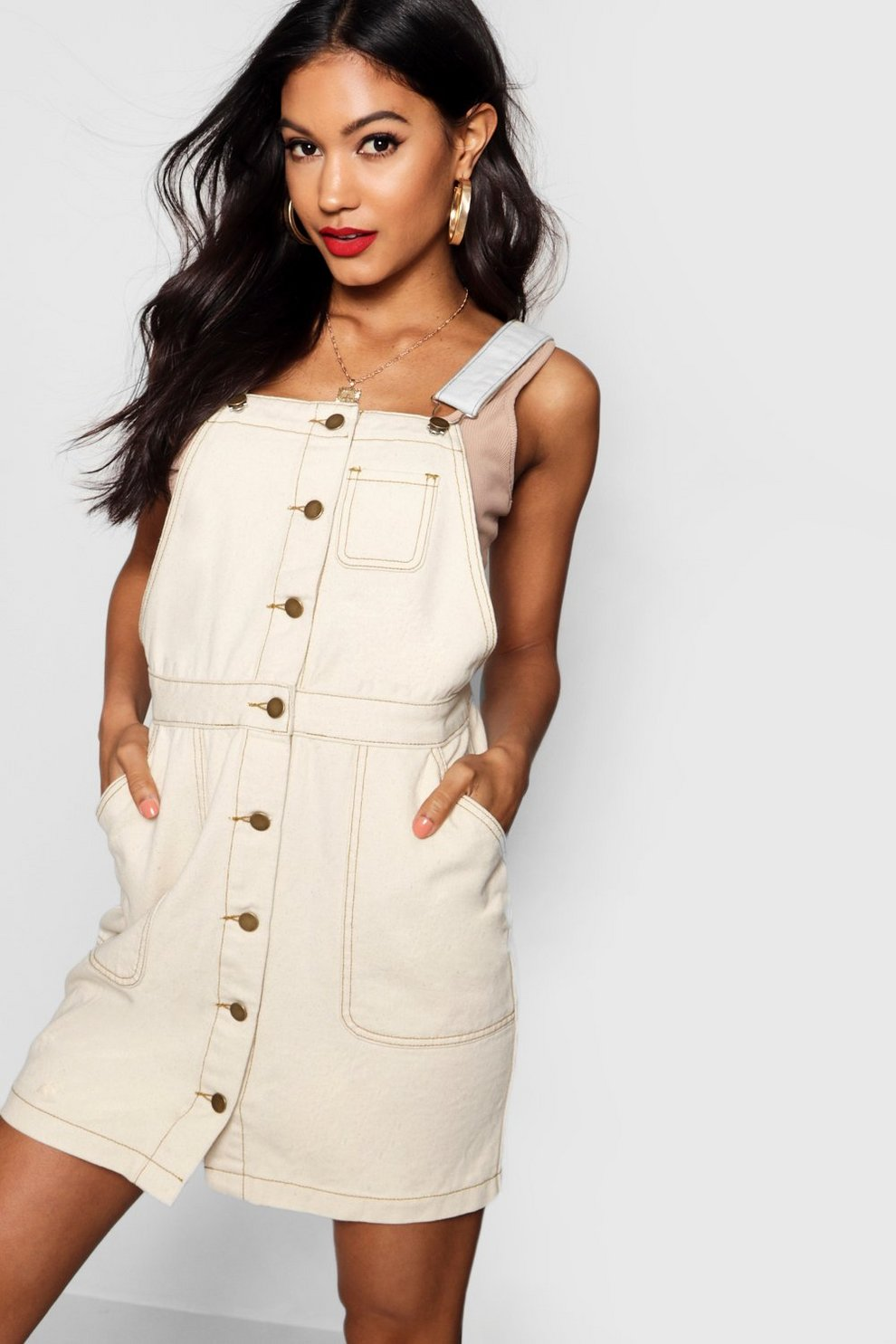Boohoo Ecru Contrast Stitch Pinafore Denim Dress Sale Online Store Free Shipping Geniue Stockist Discounts Free Shipping Footlocker Pictures uNYouAlSL6