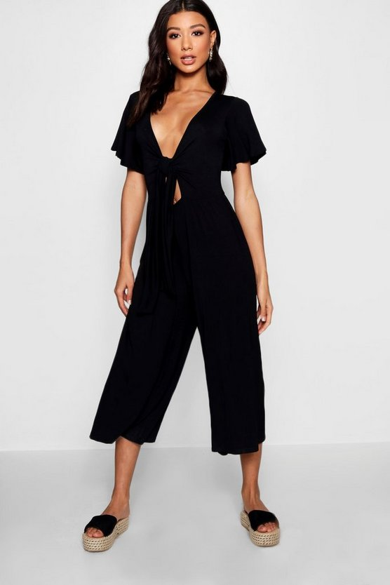 Sarah Tie Front Ribbed Culotte Jumpsuit
