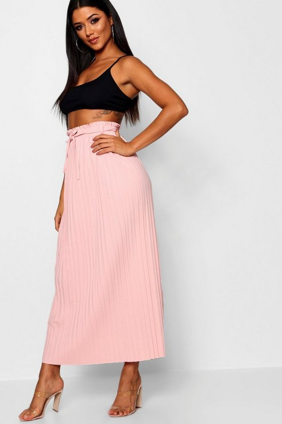 Eliza Tie Waist Pleated Maxi Skirt by Boohoo