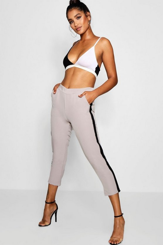 Abi Side Stripe Slim Fit Trouser by Boohoo