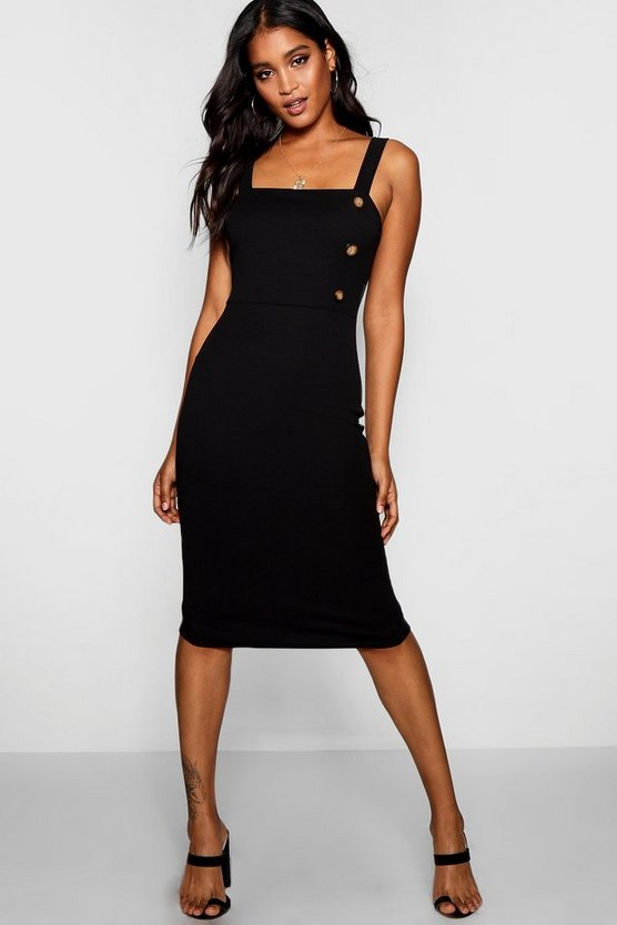 Freya Button Square Neck Midi Dress