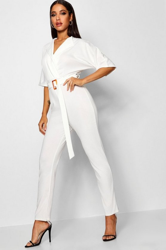 Buckle Lapel Wrap Jumpsuit