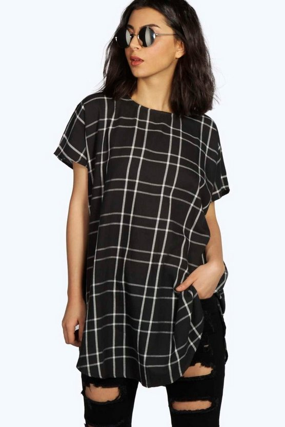 India Oversized Grid Check Tunic