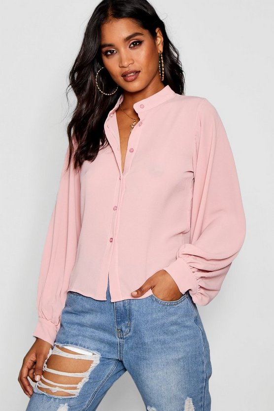 Button Through Collarless Exaggerated Sleeve Blouse