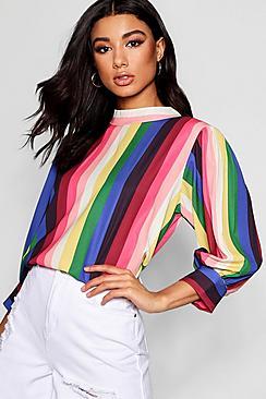 Bluse mit Ballonärmeln und Streifen in Regenbogenfarben - Boohoo.com