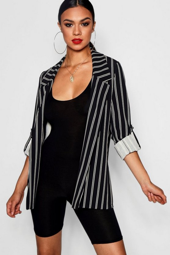 Stripe Oversized Roll Sleeve Woven Blazer