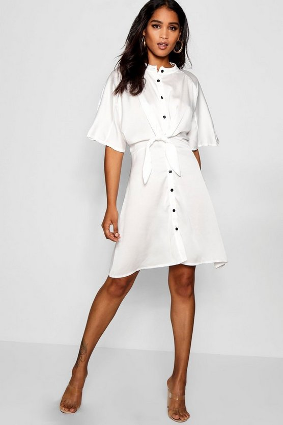 Knot Front Collarless Flute Sleeve Dress