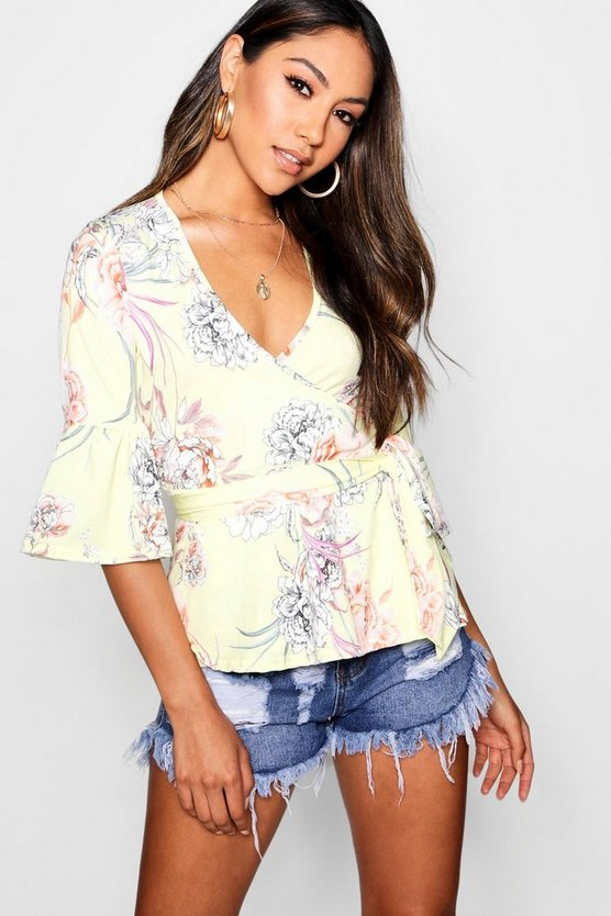 Evelyn Floral Peplum Wrap Tie Top