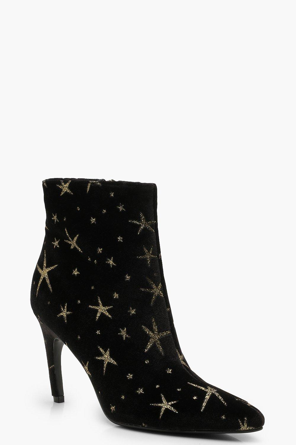 Купить Velvet Glitter Star Pointed Toe Shoe Boots, boohoo
