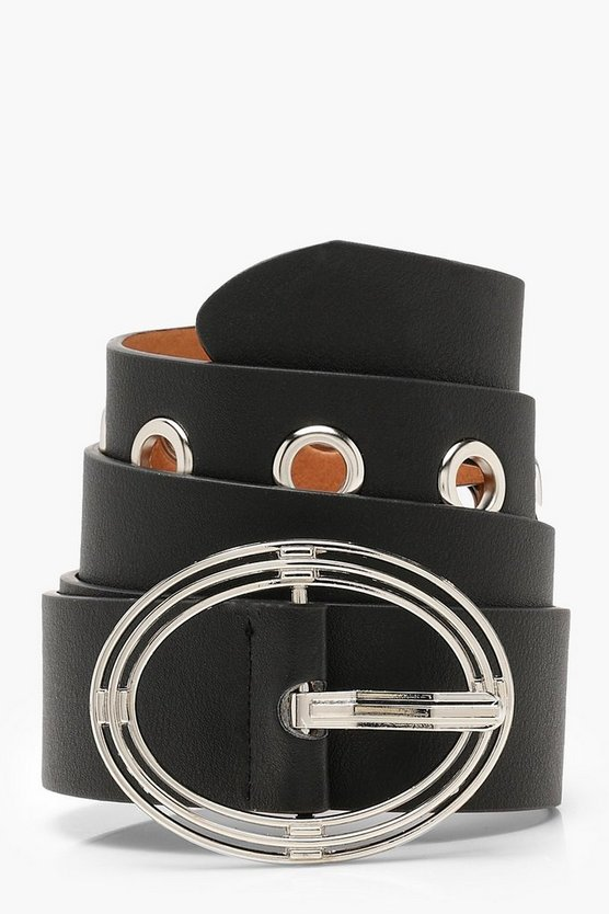 Triple Circle Buckle Eyelet Boyfriend Belt