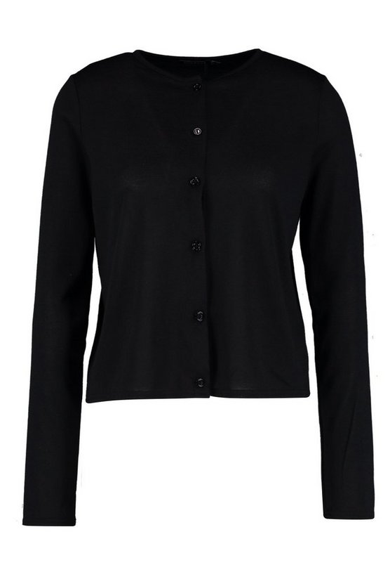 Saskia Button Up Crew Neck Cardigan by Boohoo