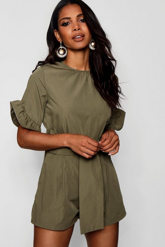 Natasha Safari Style Tie Belt Playsuit