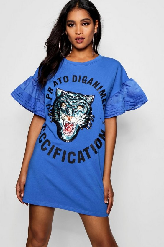 Embellished Tiger T-Shirt Dress