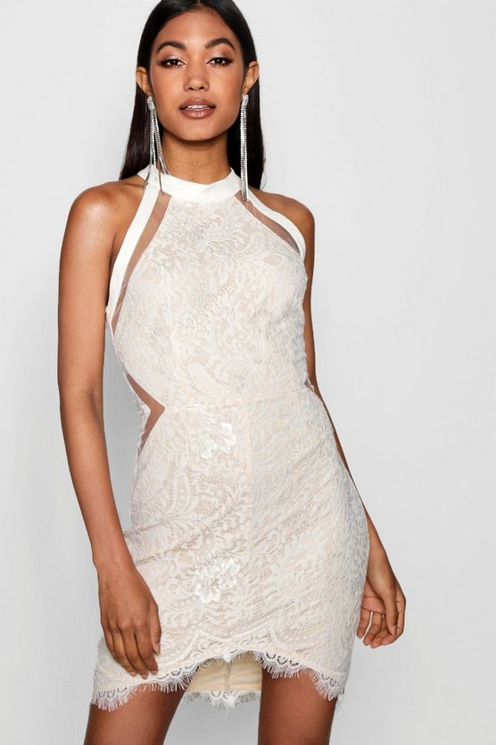 Nia Lace High Neck Pannelled Bodycon Dress