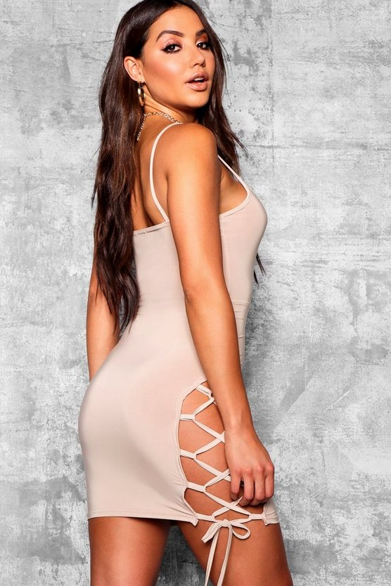 Lace up Side Detail Bodycon Dress