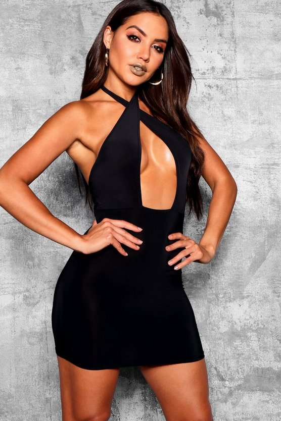 Slinky Twist Front Bodycon Dress