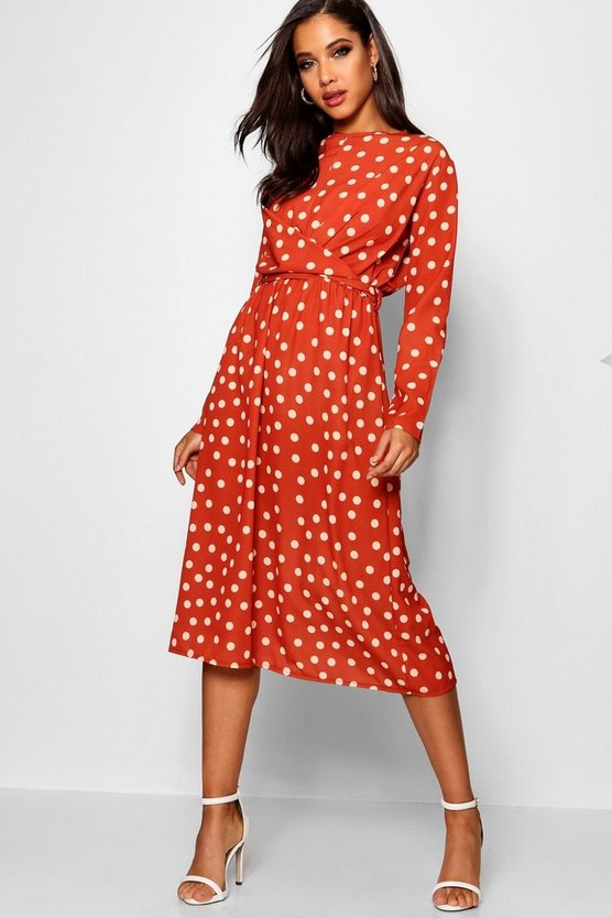 Wrapped Front Polka Dot Midaxi Dress
