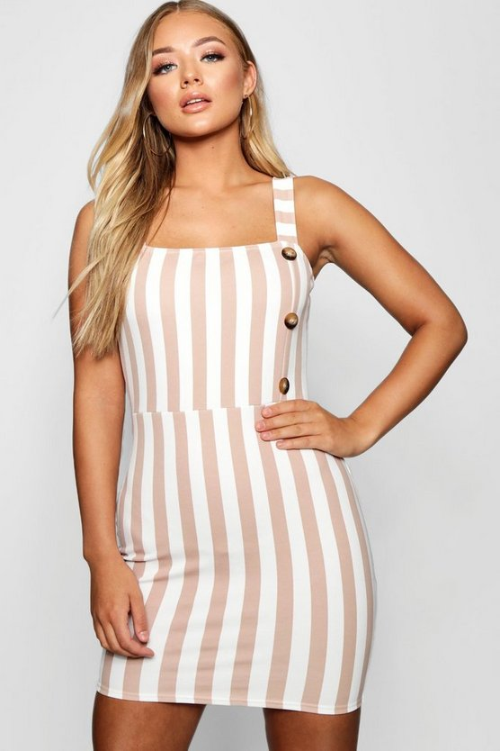 Tonal Stripe Mock Horn Button Detail Mini Dress