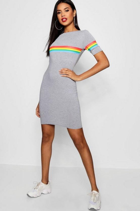 Rainbow Placement Short Sleeve Mini Dress