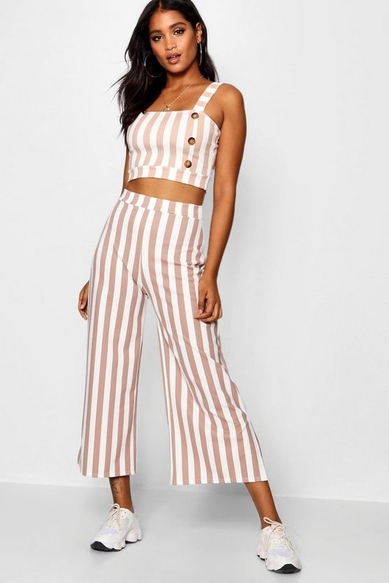 Stripe Square Neck Bralet Trouser Co-ord
