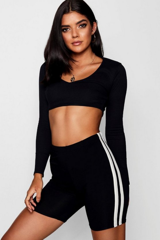 Paige Riv Deep V Long Sleeve Crop