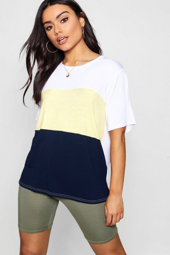 Panelled Contrast Tee by Boohoo