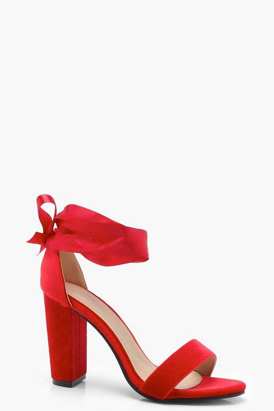 Leah Block Heel Ribbon Up Heels by Boohoo