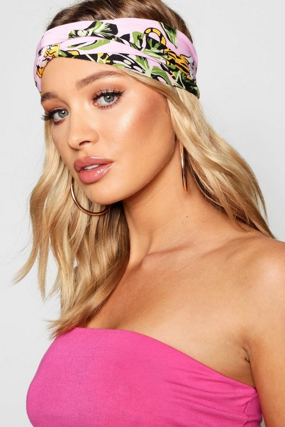 Natalie Knot Front Tropical Print Headband