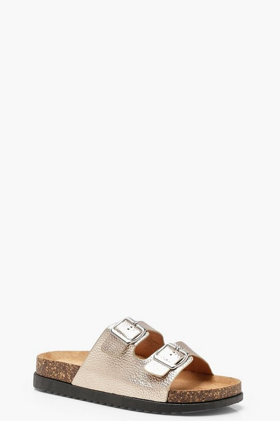 Sarah Double Buckle Chunky Footbed Sliders