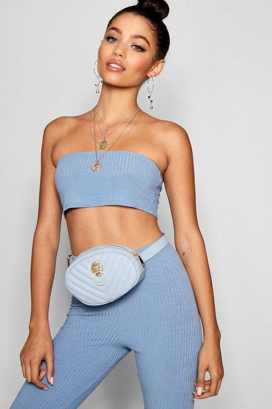 Olivia Lion Stud Quilted Belt Bag by Boohoo