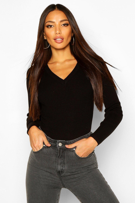Womens Gerippter Pullover mit V-Ausschnitt - schwarz - S, Schwarz - Boohoo.com