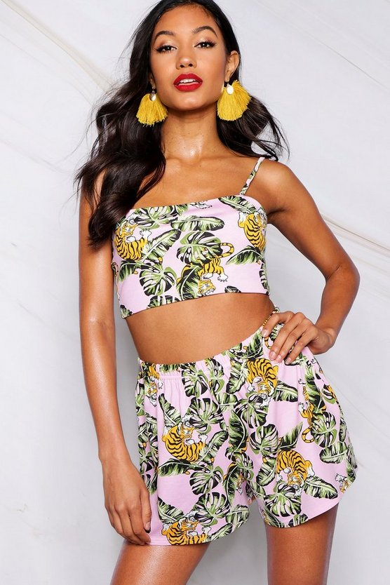 Top corto con cuello cuadrado de estampado tropical Jasmine