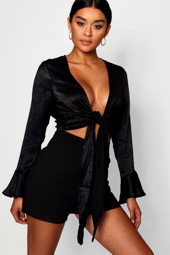 Kelly Textured Satin Flare Sleeve Tie Front